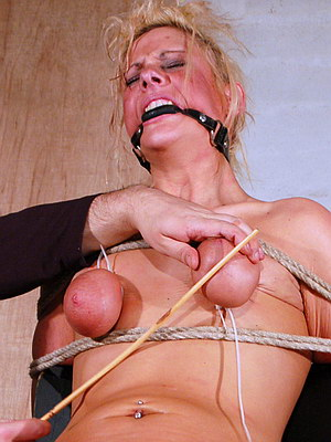 Blonde Uk Slave Crystels Breast Torment